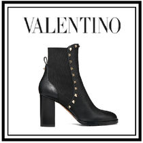VALENTINO Studded Plain Leather Block Heels Ankle & Booties Boots