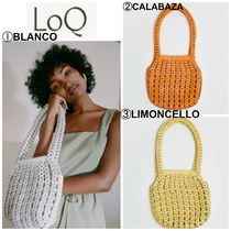 LOQ Casual Style Plain Leather Totes