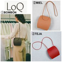 LOQ Casual Style Plain Leather Shoulder Bags