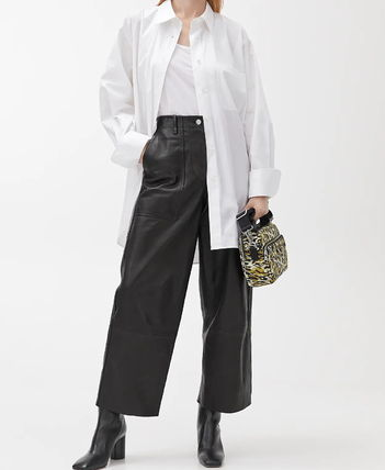 Casual Style Plain Leather Leather & Faux Leather Pants
