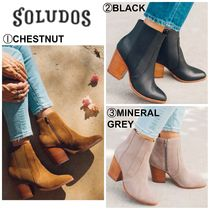 SOLUDOS Casual Style Suede Plain Chunky Heels Ankle & Booties Boots