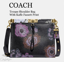 Coach Flower Patterns Casual Style Leather Shoulder Bags