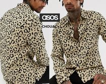 ASOS Button-down Leopard Patterns Street Style Long Sleeves