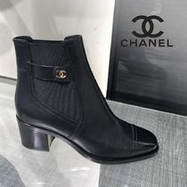 CHANEL Blended Fabrics Plain Ankle & Booties Boots