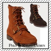 POLO RALPH LAUREN Straight Tip Suede Street Style Plain Khaki Engineer Boots