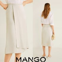MANGO Flared Skirts Casual Style Plain Medium Midi Skirts
