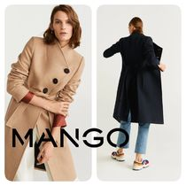 MANGO Casual Style Wool Plain Medium Coats