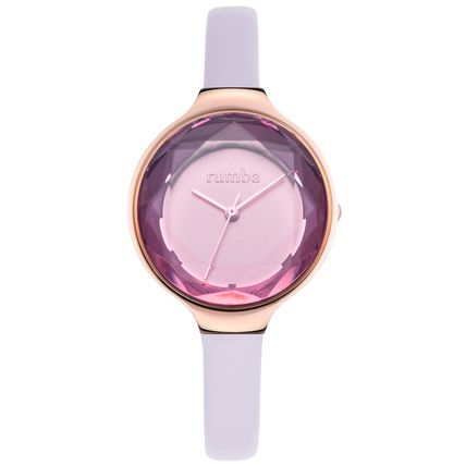 Casual Style Blended Fabrics Leather Round Quartz Watches