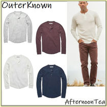 Outer known Crew Neck Long Sleeves Plain Cotton Handmade