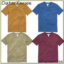Outer known Crew Neck Stripes Cotton Short Sleeves Handmade