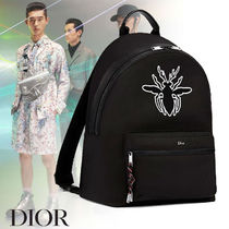 Christian Dior Unisex Nylon Street Style A4 Plain Backpacks