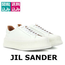 Jil Sander Plain Toe Rubber Sole Lace-up Street Style Plain Leather