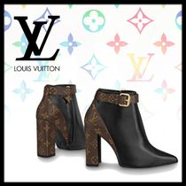 Louis Vuitton Monogram Leather Block Heels Elegant Style High Heel Boots