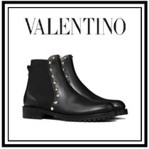 VALENTINO Studded Plain Leather Flat Boots