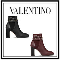 VALENTINO Studded Plain Leather Block Heels High Heel Boots