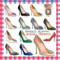 Manolo Blahnik Hangisi Plain Pin Heels Elegant Style Pointed Toe Pumps & Mules