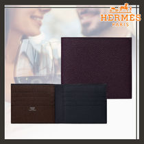 HERMES Calfskin Bi-color Folding Wallets