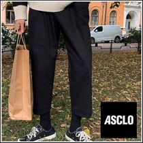 ASCLO Street Style Plain Cotton Oversized Cropped Pants