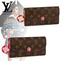 Louis Vuitton PORTEFEUILLE EMILIE Flower Patterns Monogram Canvas Blended Fabrics Studded