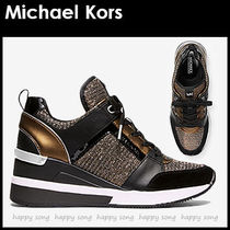 Michael Kors Round Toe Casual Style Street Style Bi-color Plain Leather