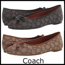 Coach Monogram Round Toe Casual Style Leather Flats