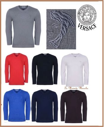 Wool V-Neck Long Sleeves Plain Knits & Sweaters