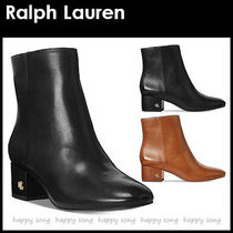 Ralph Lauren Round Toe Plain Leather Block Heels Elegant Style