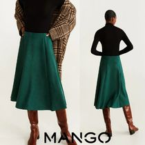 MANGO Casual Style Suede Plain Medium Midi Skirts