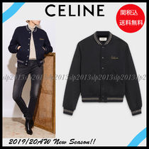 CELINE Short Wool Blended Fabrics Plain Varsity Jackets