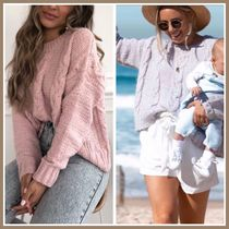 WHITE FOX Crew Neck Cable Knit Casual Style Rib Street Style