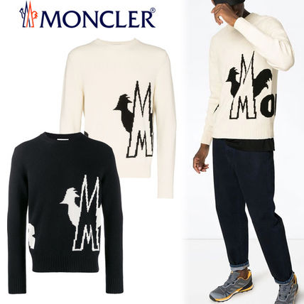 MONCLER Sweaters Crew Neck Pullovers Wool Blended Fabrics Bi-color
