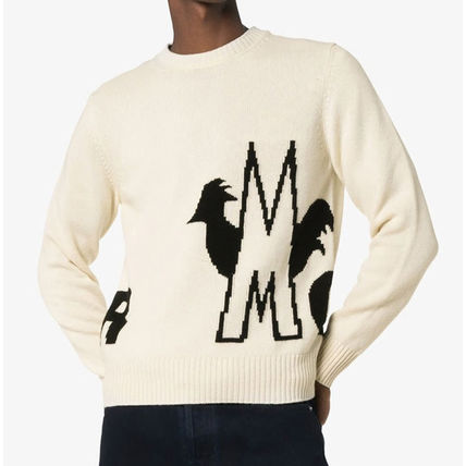 MONCLER Sweaters Crew Neck Pullovers Wool Blended Fabrics Bi-color 2