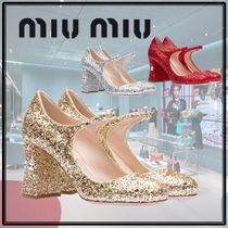 MiuMiu Round Toe Plain Party Style With Jewels Chunky Heels