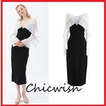 Chicwish Dots Tight Blended Fabrics V-Neck Plain Long Party Style