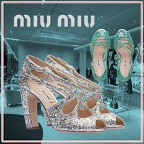 MiuMiu Open Toe Plain Party Style With Jewels Chunky Heels