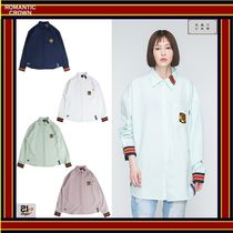 ROMANTIC CROWN Unisex Street Style Long Sleeves Oversized Shirts & Blouses