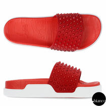 Christian Louboutin Studded Street Style Plain Leather Shower Shoes