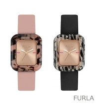 FURLA Casual Style Blended Fabrics Leather Square Analog Watches