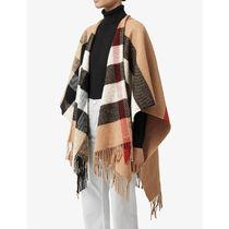 Burberry Tartan Wool Street Style Fringes Ponchos & Capes