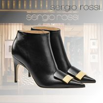 Sergio Rossi Casual Style Plain Leather Block Heels Fringes