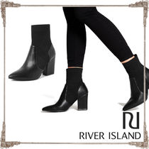 River Island Faux Fur Blended Fabrics Plain High Heel Boots