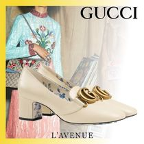 GUCCI Flower Patterns Blended Fabrics Leather Block Heels
