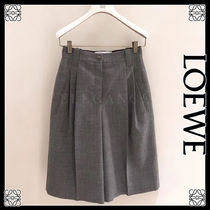 LOEWE Short Wool Plain Office Style Center Pressed Shorts
