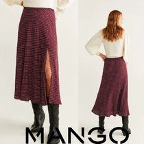 MANGO Flared Skirts Dots Casual Style Long Maxi Skirts