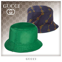 GUCCI Unisex Blended Fabrics Bucket Hats Wide-brimmed Hats