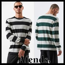 AFENDS Crew Neck Stripes Linen Street Style Long Sleeves