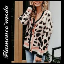 Leopard Patterns Casual Style Long Sleeves Medium Cardigans
