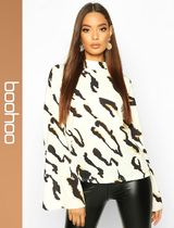boohoo Leopard Patterns Casual Style Long Sleeves Shirts & Blouses