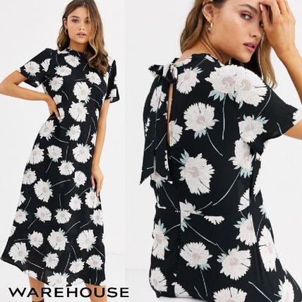 Flower Patterns Casual Style Flared Short Sleeves High-Neck