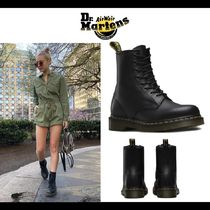 Dr Martens 1460 Round Toe Rubber Sole Casual Style Unisex Plain Leather